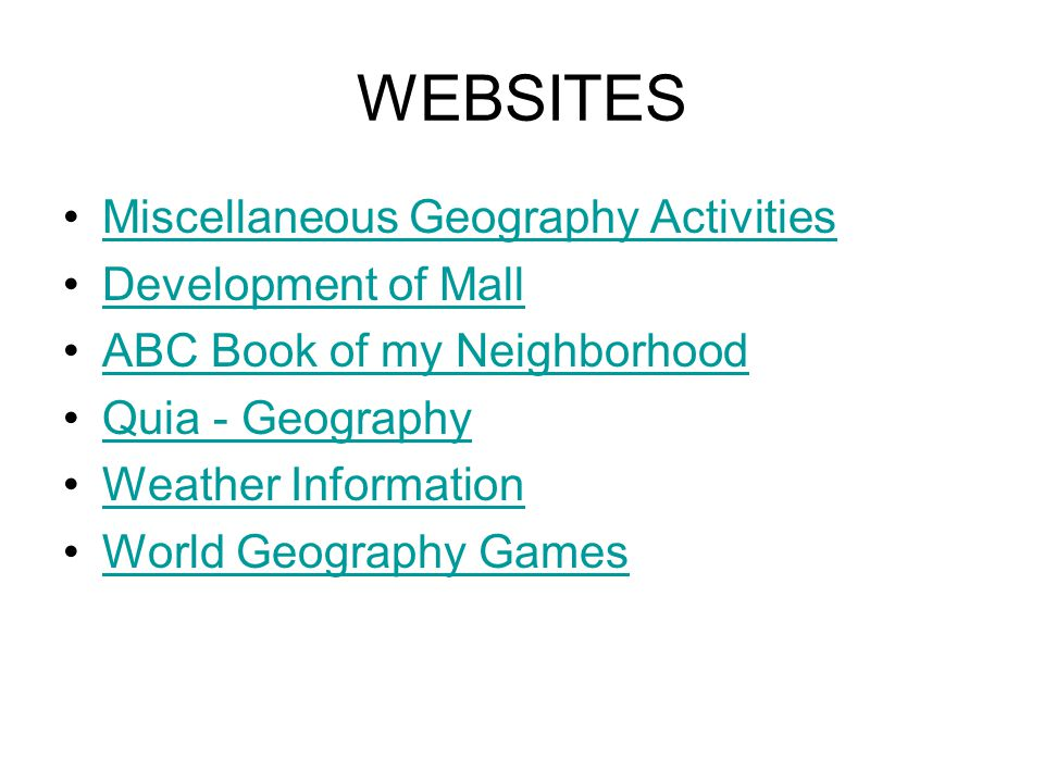WEBSITES Miscellaneous Geography Activities Development of Mall