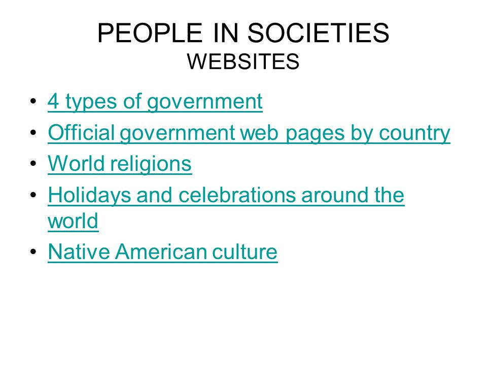 PEOPLE IN SOCIETIES WEBSITES