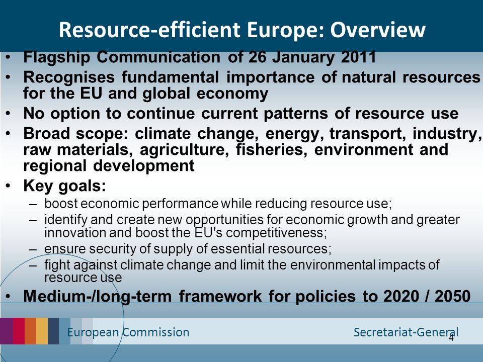 Resource-efficient Europe: Overview