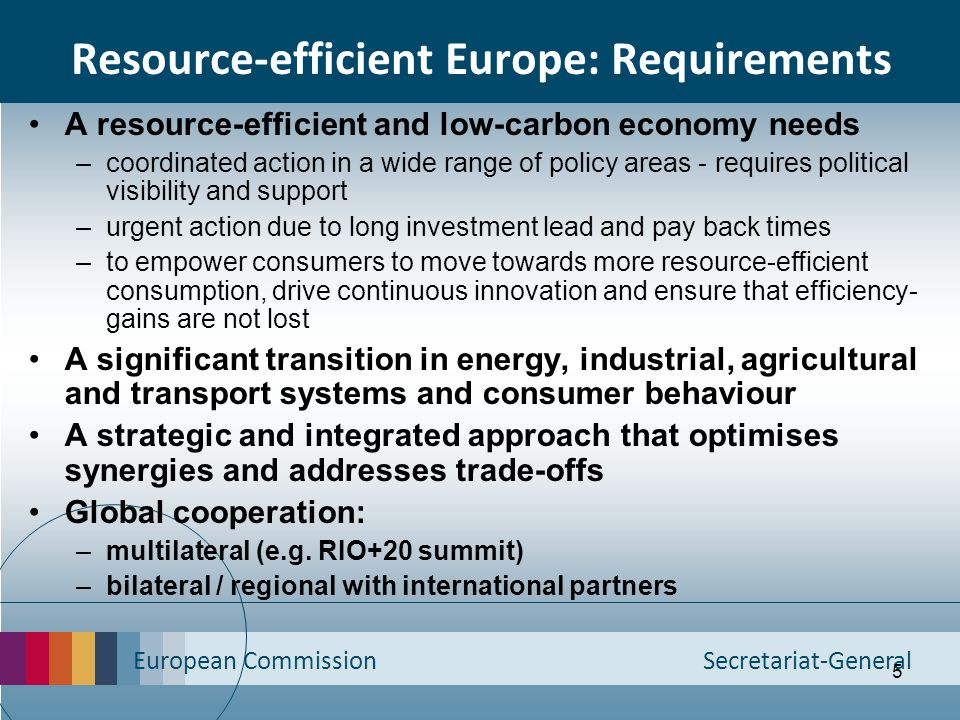 Resource-efficient Europe: Requirements