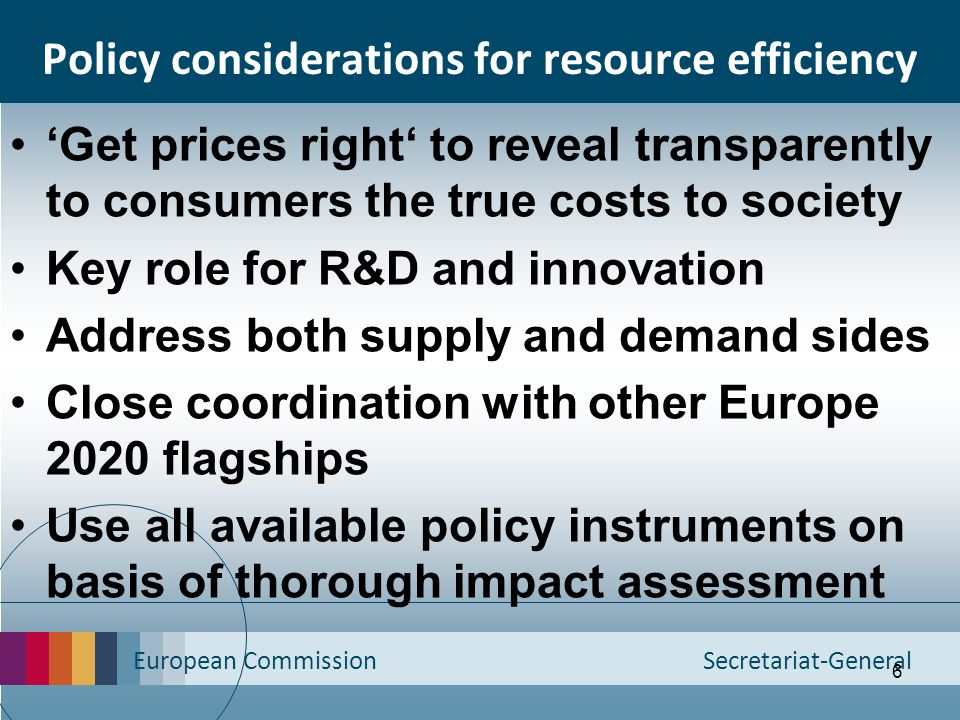Policy considerations for resource efficiency