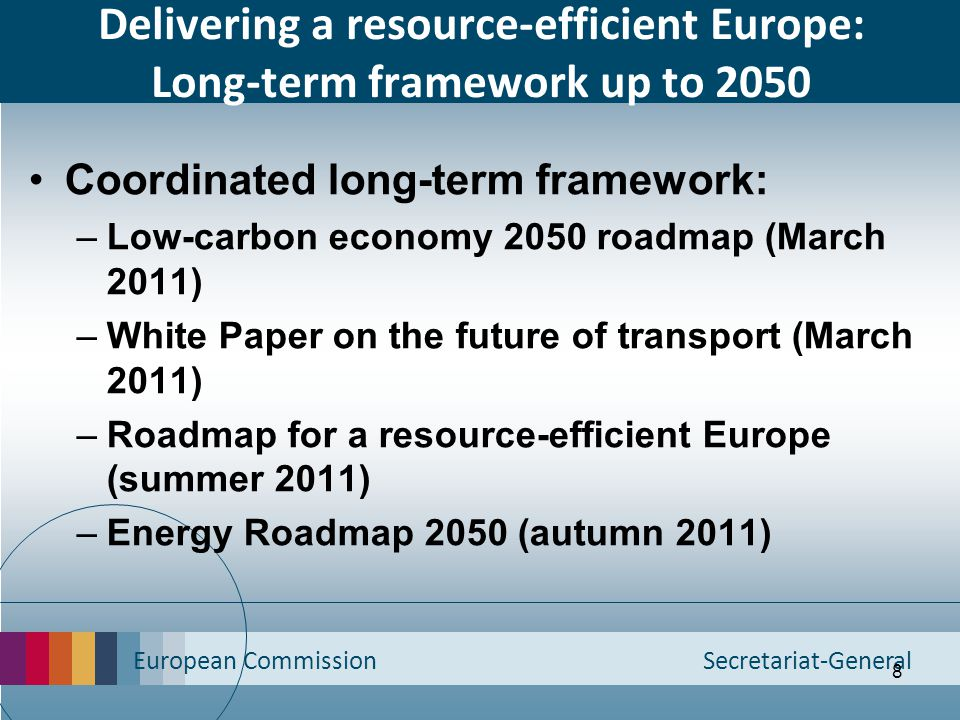 Delivering a resource-efficient Europe: Long-term framework up to 2050