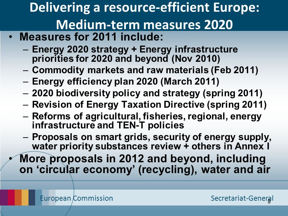 Delivering a resource-efficient Europe: Medium-term measures 2020