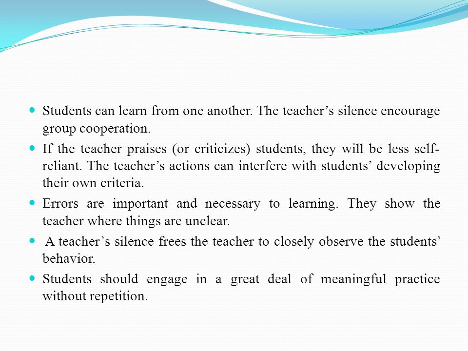 Students can learn from one another