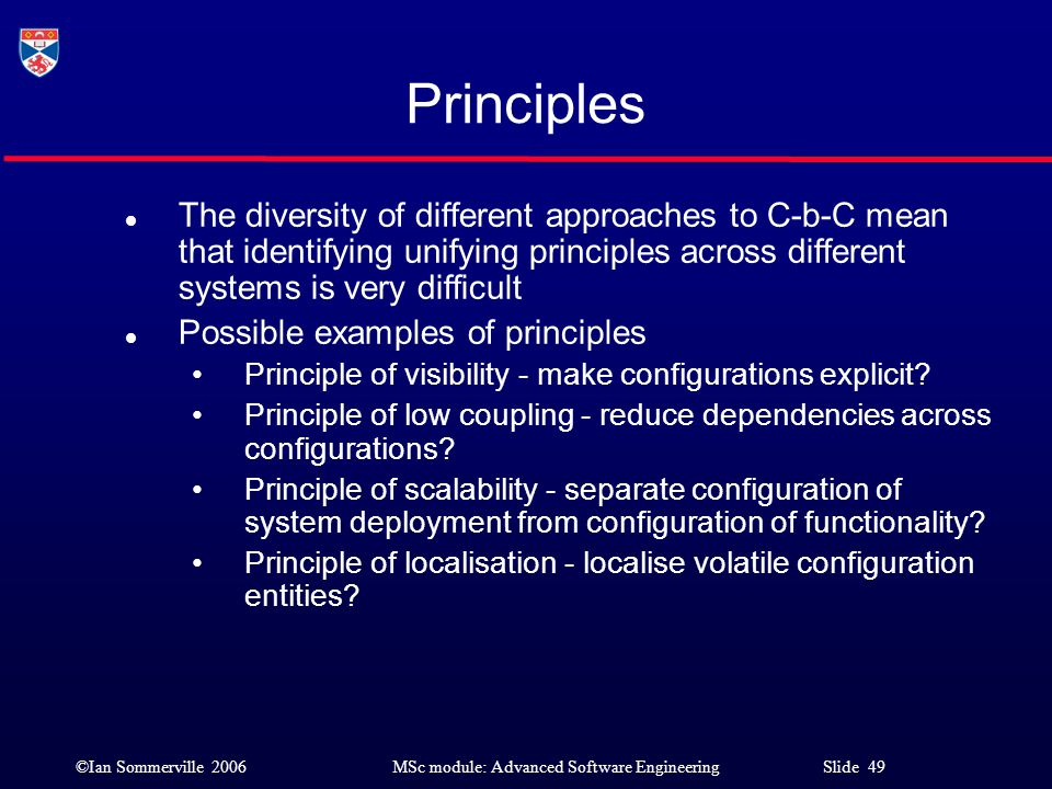 Principles The diversity of different approaches to C-b-C mean that identifying unifying principles across different systems is very difficult.