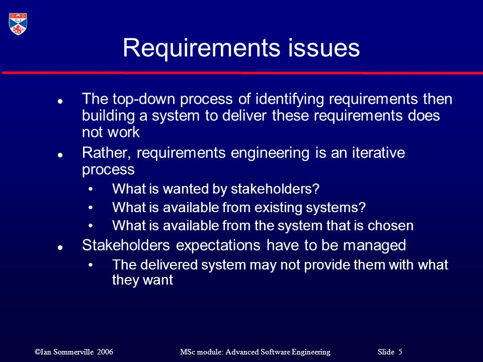 Requirements issues The top-down process of identifying requirements then building a system to deliver these requirements does not work.
