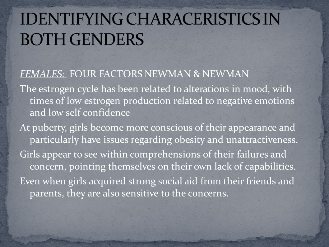 IDENTIFYING CHARACERISTICS IN BOTH GENDERS