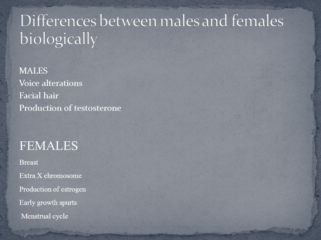 Differences between males and females biologically