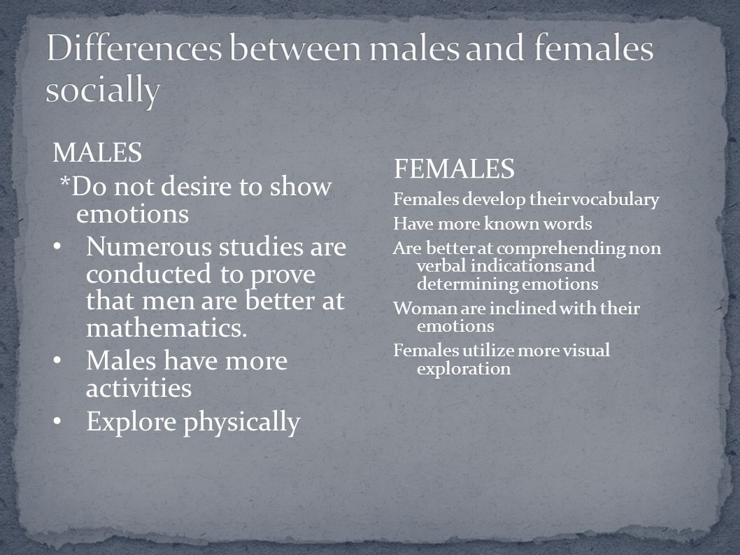 Differences between males and females socially