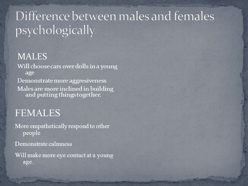 Difference between males and females psychologically