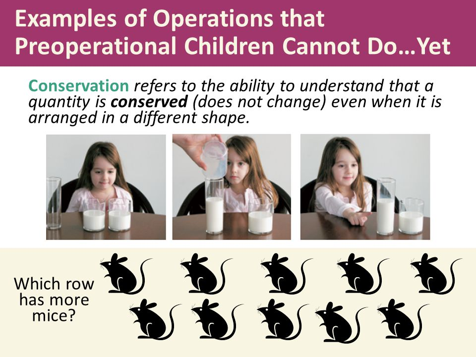 Examples of Operations that Preoperational Children Cannot Do…Yet