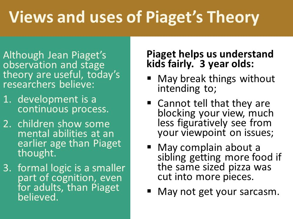 Views and uses of Piaget's Theory