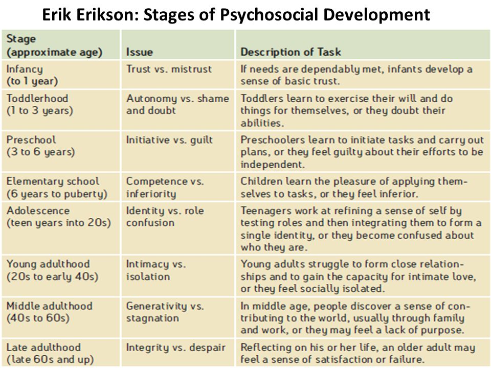 Erik Erikson: Stages of Psychosocial Development
