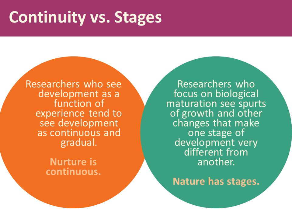 Continuity vs. Stages Researchers who see development as a function of experience tend to see development as continuous and gradual.