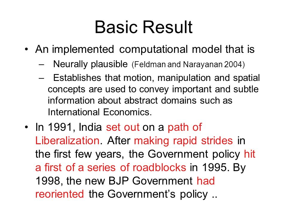 Basic Result An implemented computational model that is