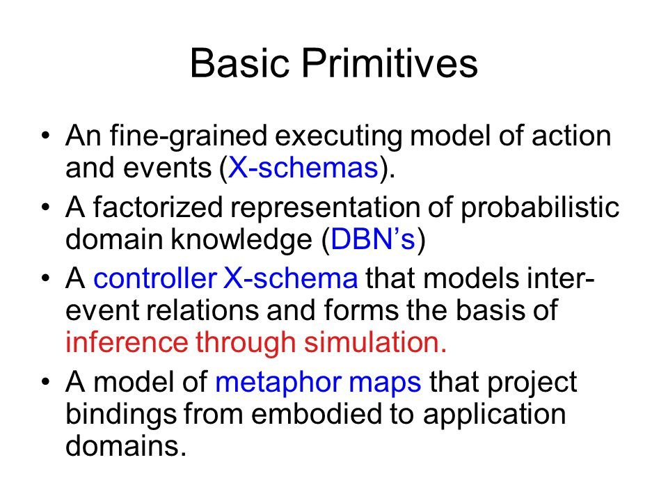 Basic Primitives An fine-grained executing model of action and events (X-schemas).