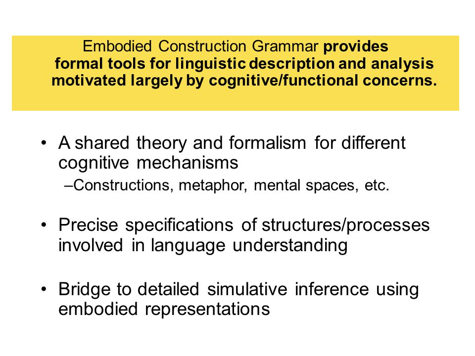A shared theory and formalism for different cognitive mechanisms