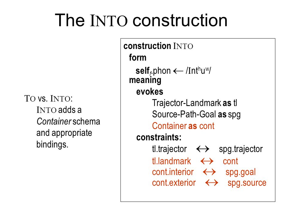 The INTO construction construction INTO form meaning evokes