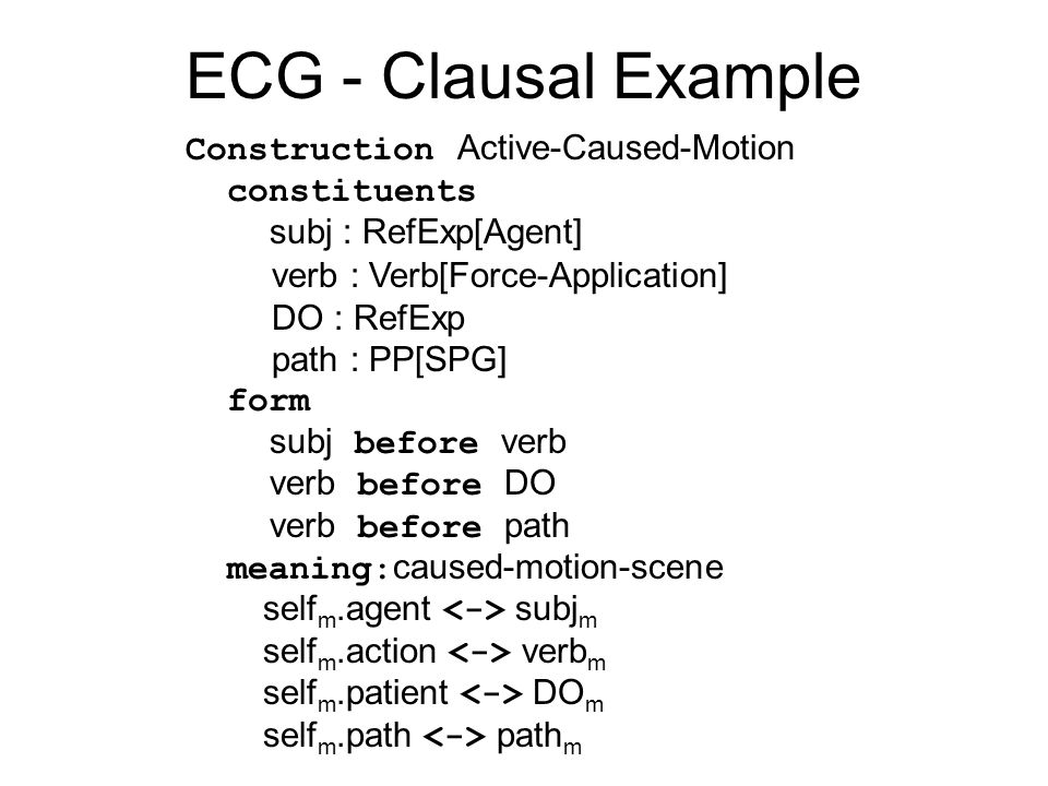 ECG - Clausal Example Construction Active-Caused-Motion constituents