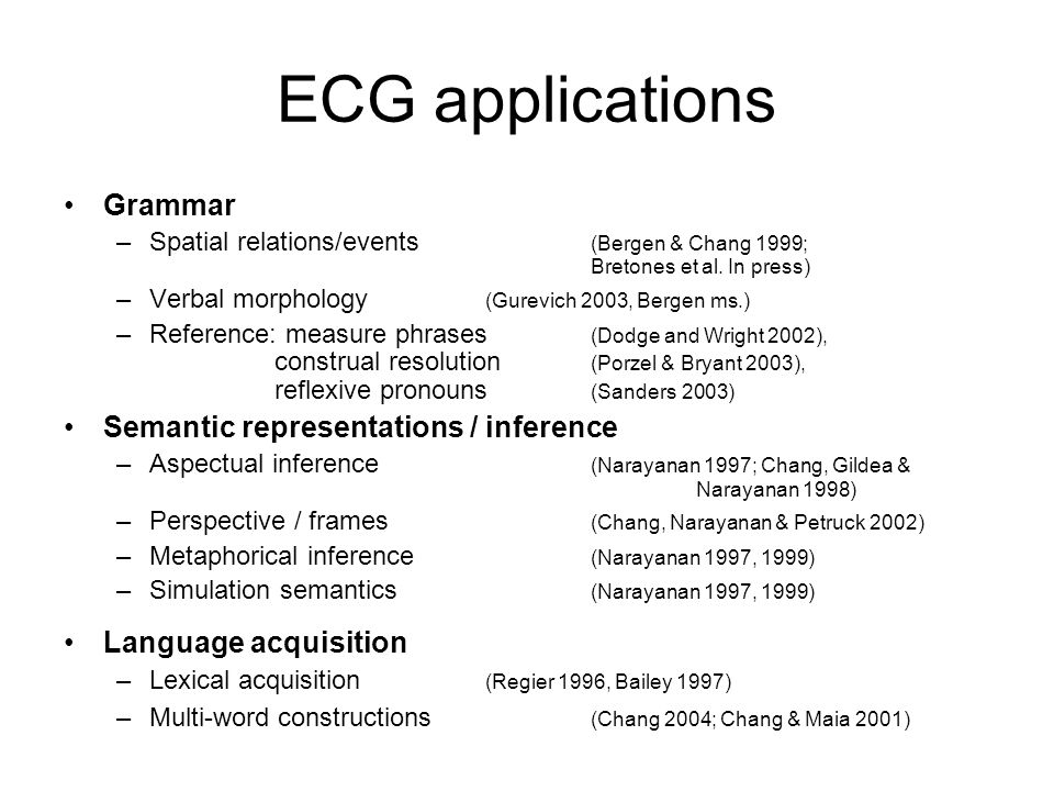 ECG applications Grammar Semantic representations / inference