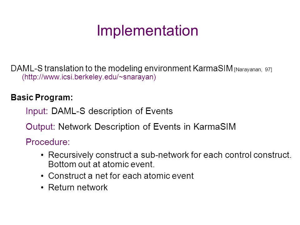 Implementation Input: DAML-S description of Events