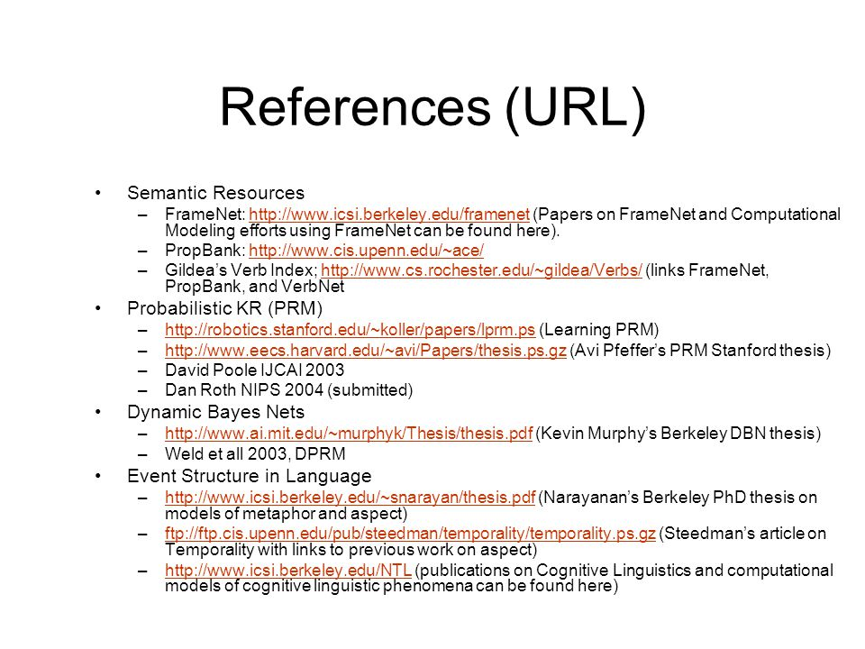 References (URL) Semantic Resources Probabilistic KR (PRM)