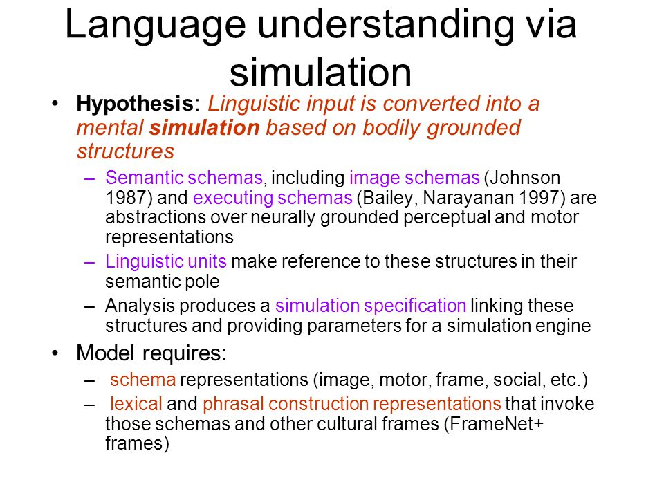 Language understanding via simulation