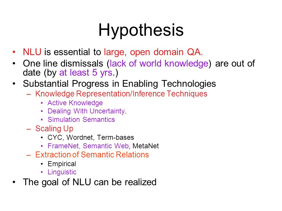 Hypothesis NLU is essential to large, open domain QA.