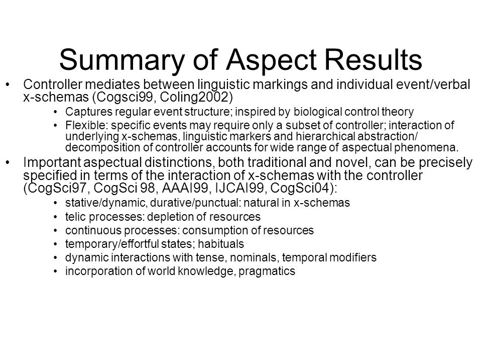 Summary of Aspect Results