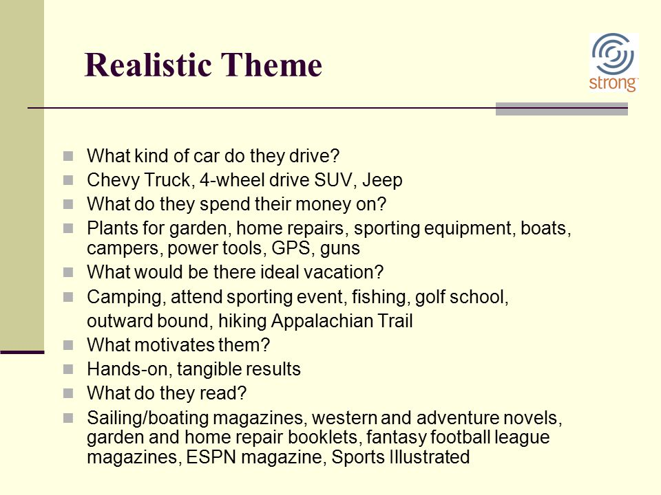 Realistic Theme What kind of car do they drive