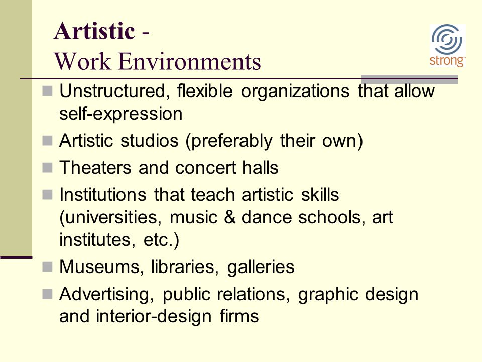 Artistic - Work Environments