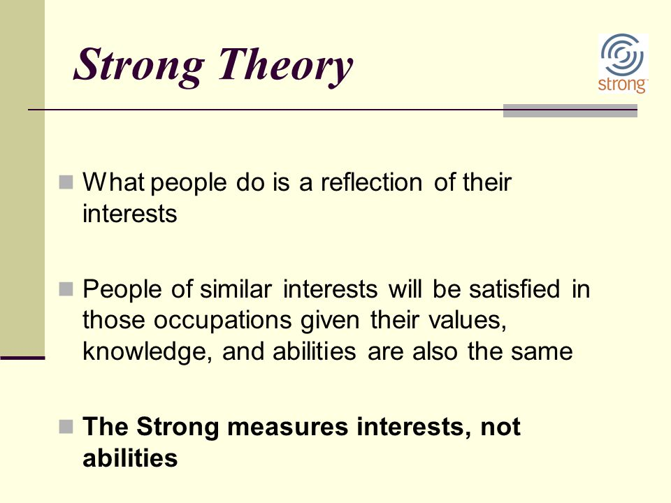 Strong Theory What people do is a reflection of their interests