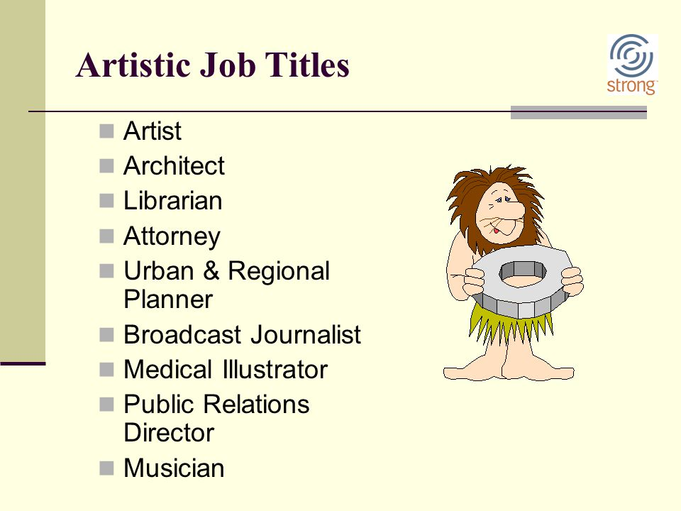 Artistic Job Titles Artist Architect Librarian Attorney