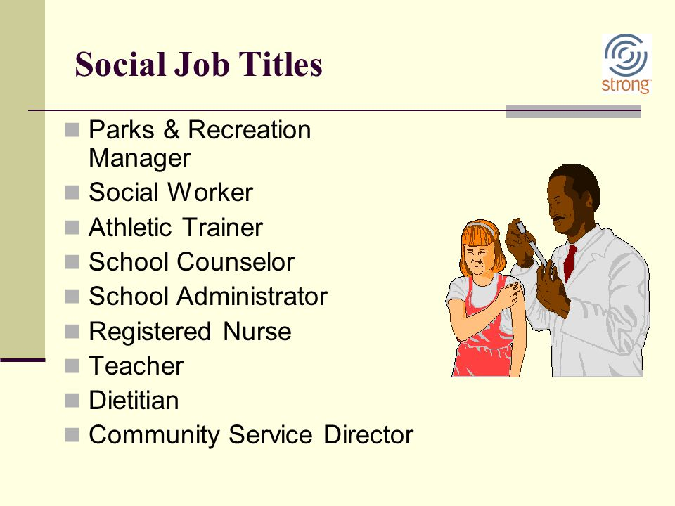 Social Job Titles Parks & Recreation Manager Social Worker