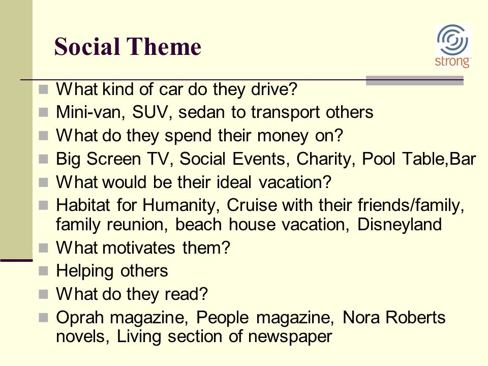 Social Theme What kind of car do they drive