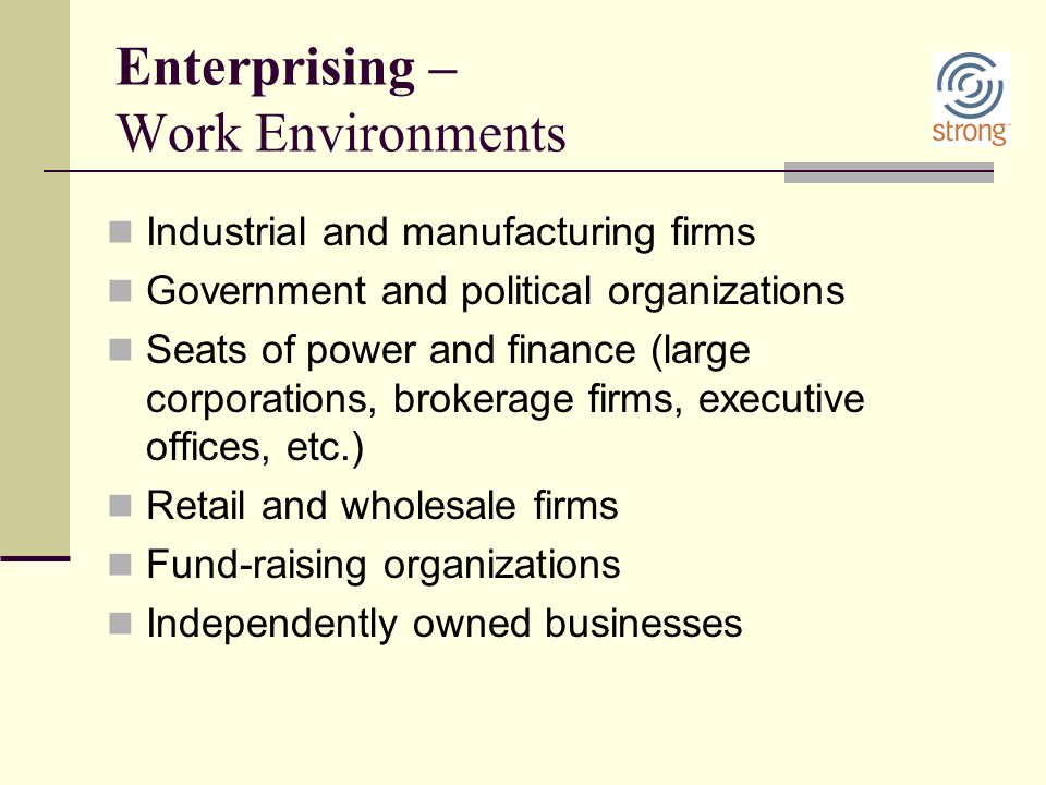 Enterprising – Work Environments