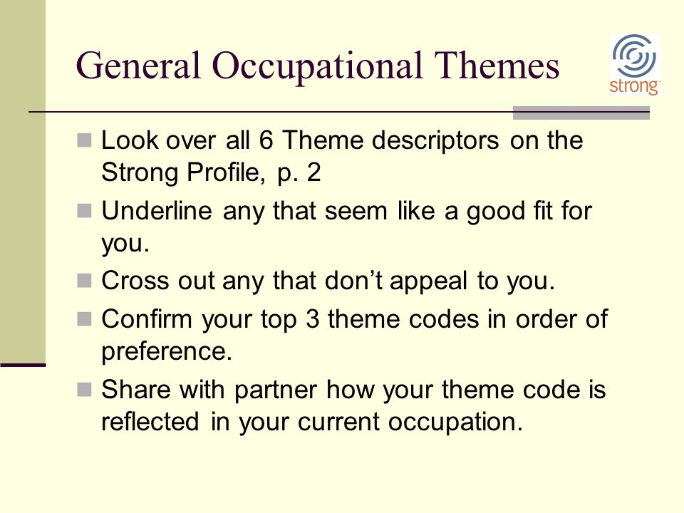 General Occupational Themes