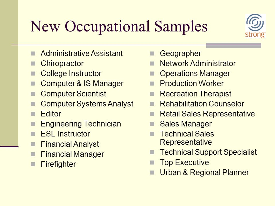 New Occupational Samples