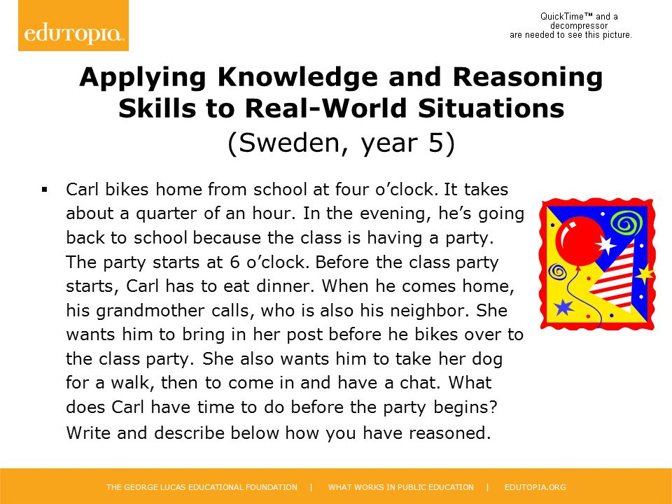 Applying Knowledge and Reasoning Skills to Real-World Situations (Sweden, year 5)