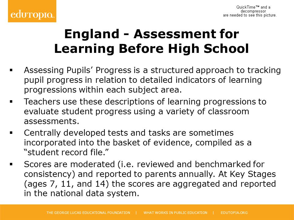 England - Assessment for Learning Before High School