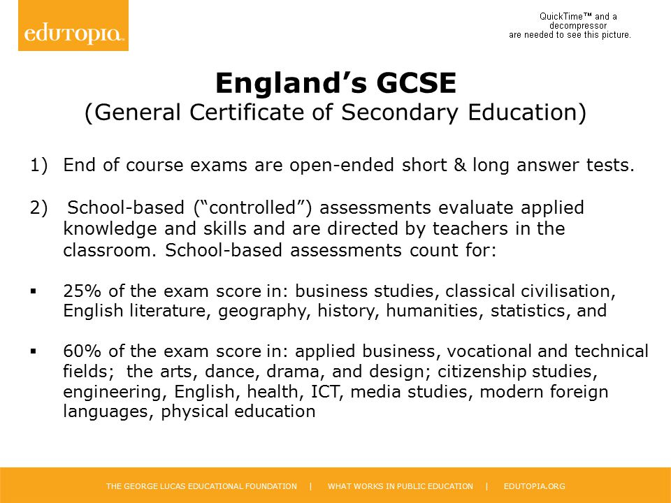 England's GCSE (General Certificate of Secondary Education)