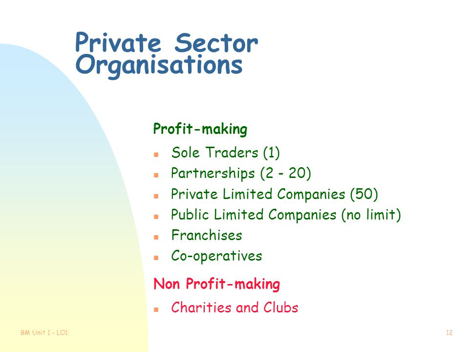 Private Sector Organisations