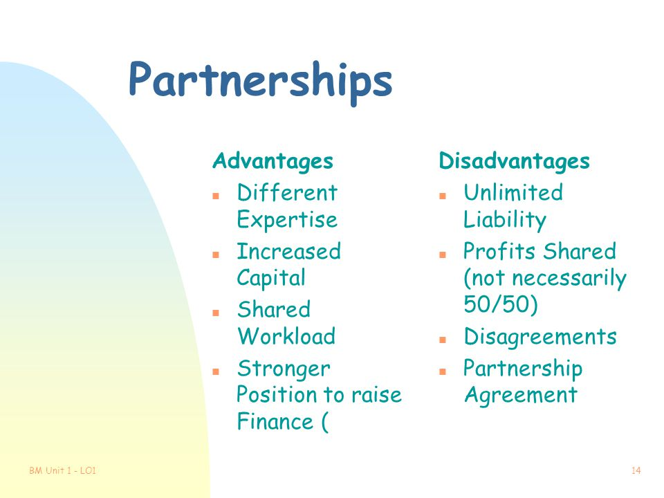 Partnerships Advantages Different Expertise Increased Capital