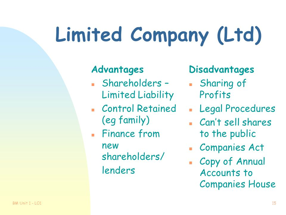 Limited Company (Ltd) Advantages Shareholders – Limited Liability
