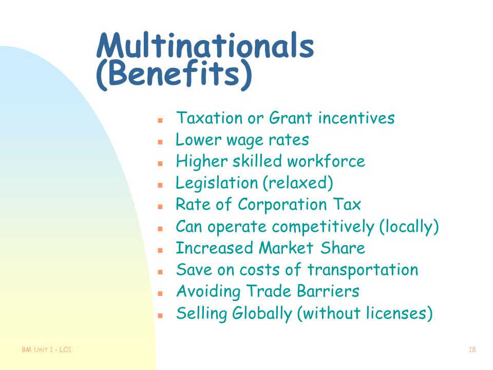 Multinationals (Benefits)