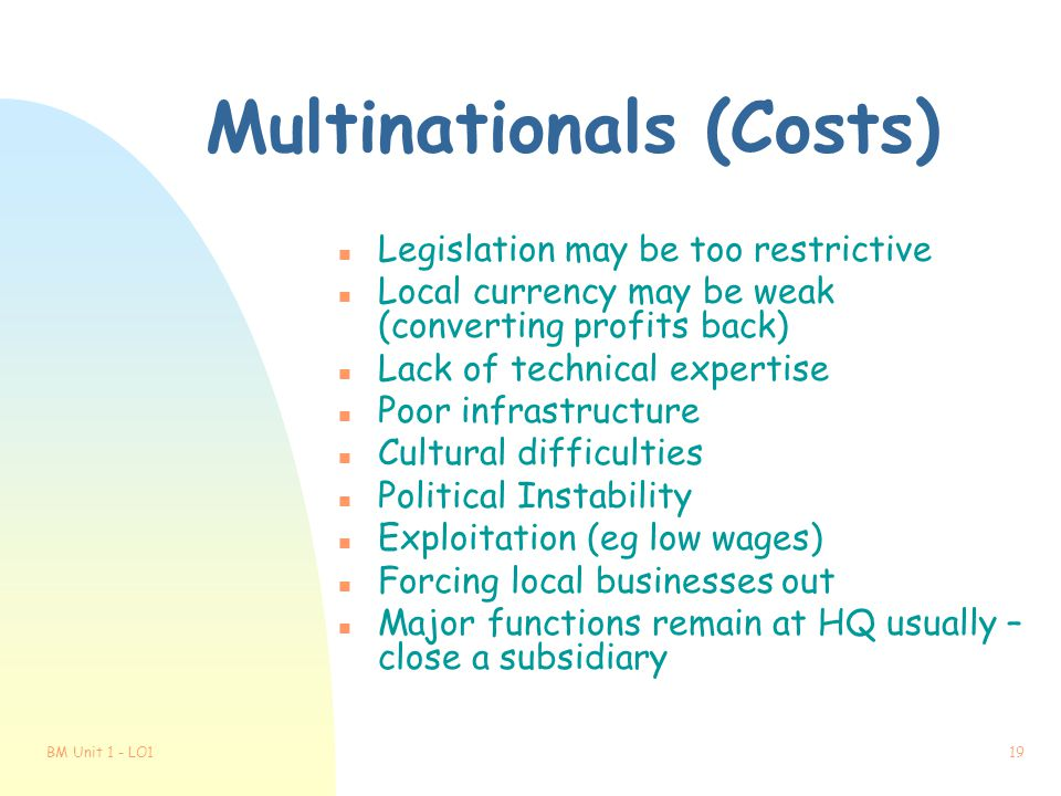 Multinationals (Costs)