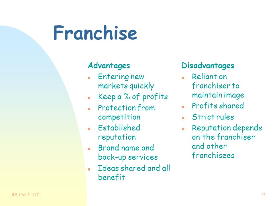 Franchise Advantages Entering new markets quickly Keep a % of profits