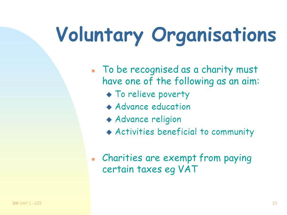Voluntary Organisations