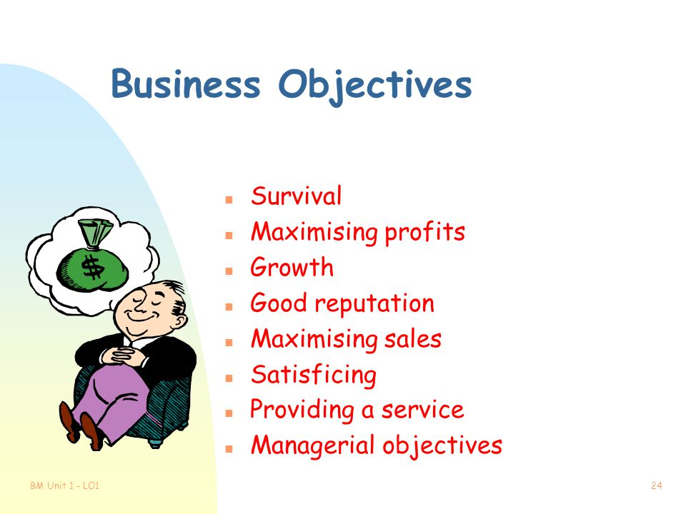 Business Objectives Survival Maximising profits Growth Good reputation
