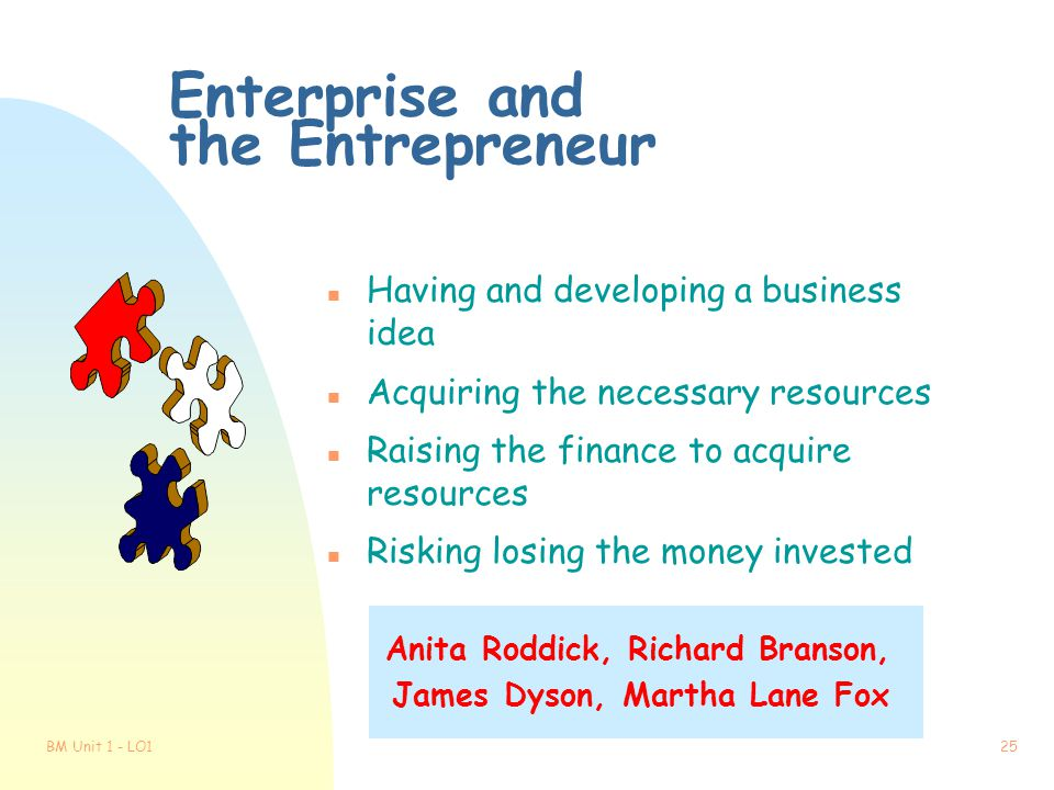 Enterprise and the Entrepreneur